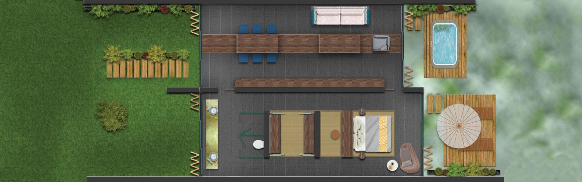 Maxx Laguna Süit 1 Yatak Odalı Oda Planı