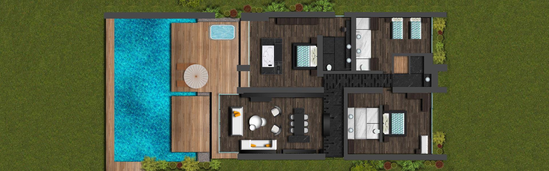 Royal Beach Villa 3 Yatak Odalı Oda Planı